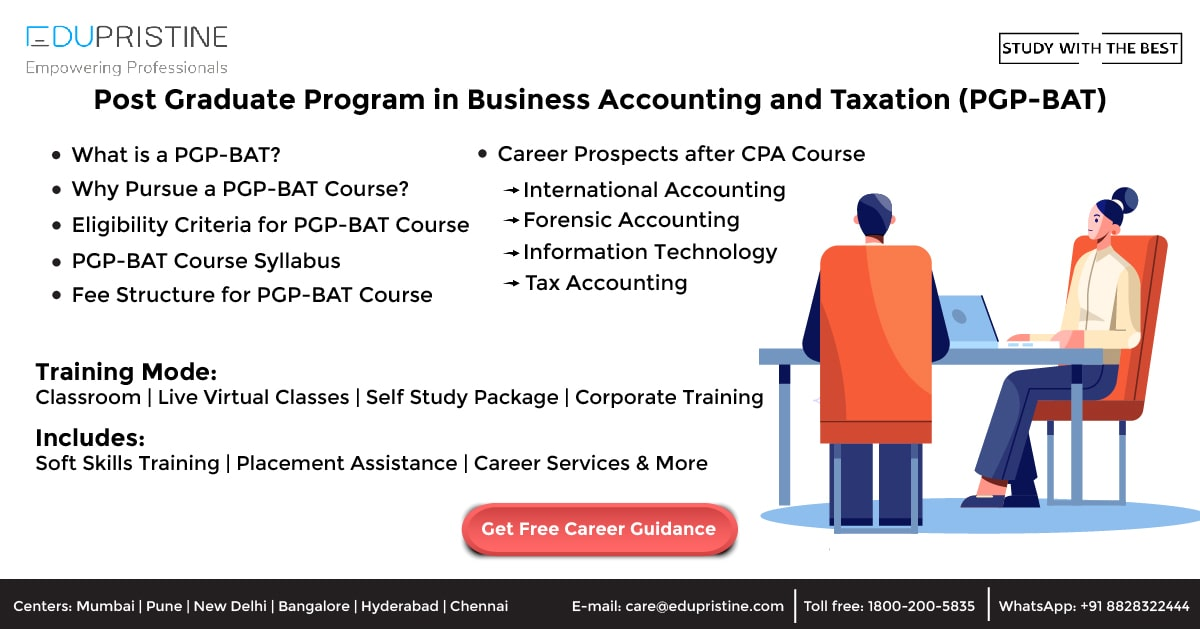 Post Graduate Program in Business Accounting and Taxation (PGP-BAT)