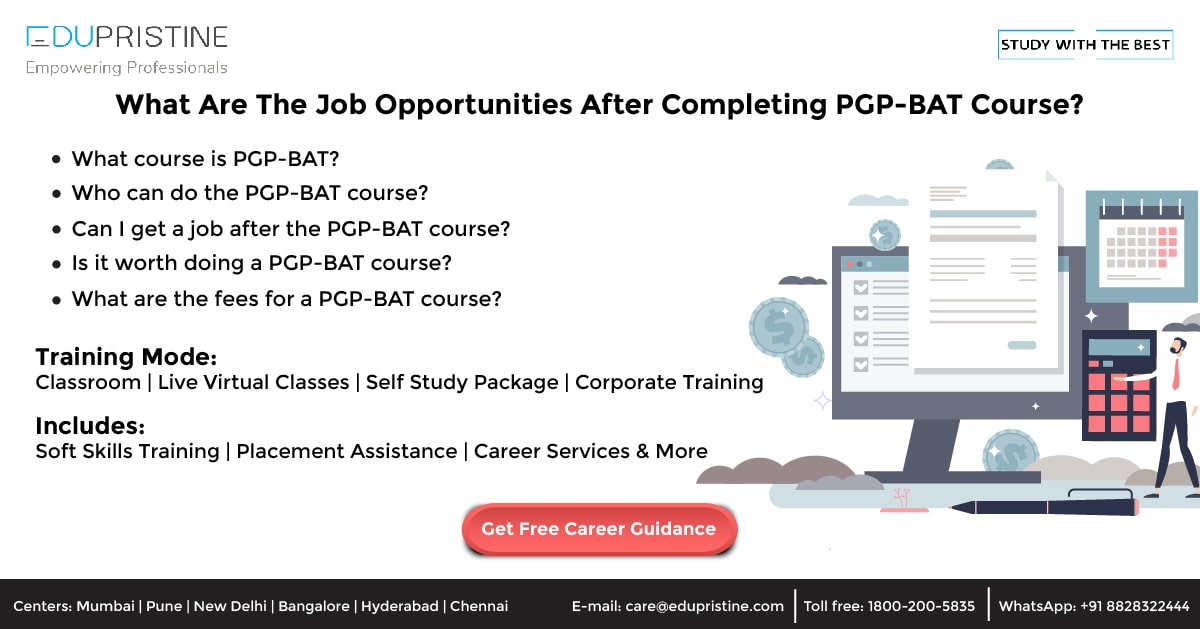 What Are The Job Opportunities After Completing PGP-BAT Qualification?