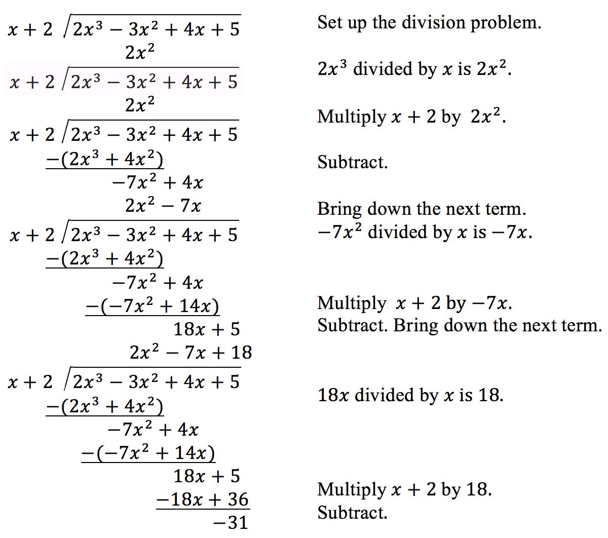 Use Long Division To Divide Polynomials
