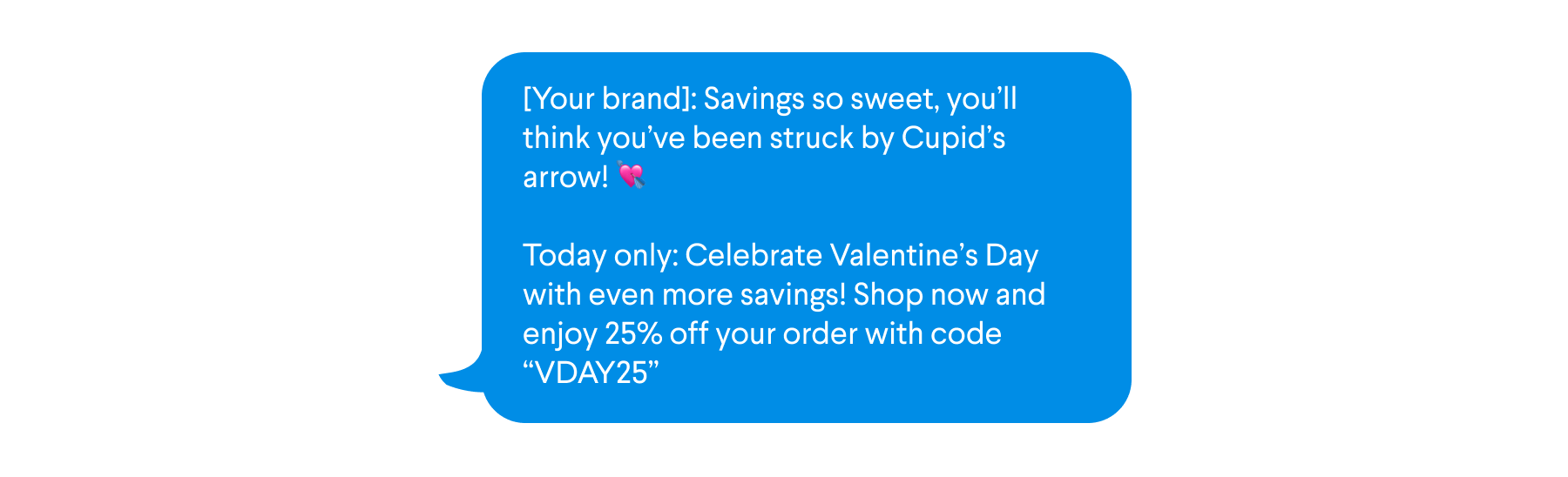 Sample text for SMS campaign to non-click subscribers featuring new Valentine's Day promo code