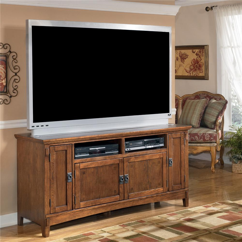 60 Inch Oak TV Stand With Mission Style Hardware By Ashley Furniture Wolf And Gardiner Wolf
