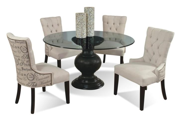 54 Round Glass Dining Table With Pedestal Base By CMI