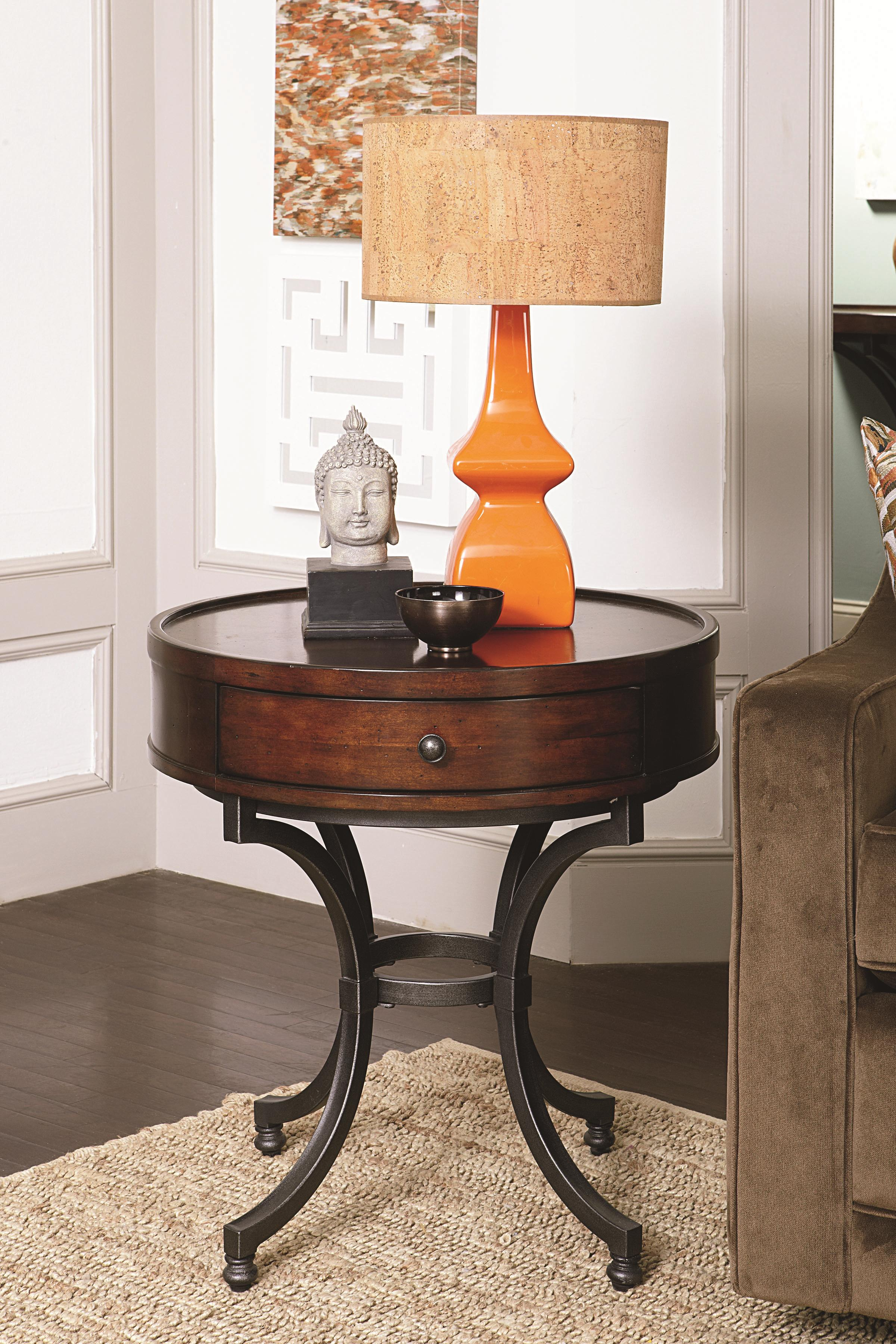 Round End Table With 1 Drawer By Hammary Wolf Furniture