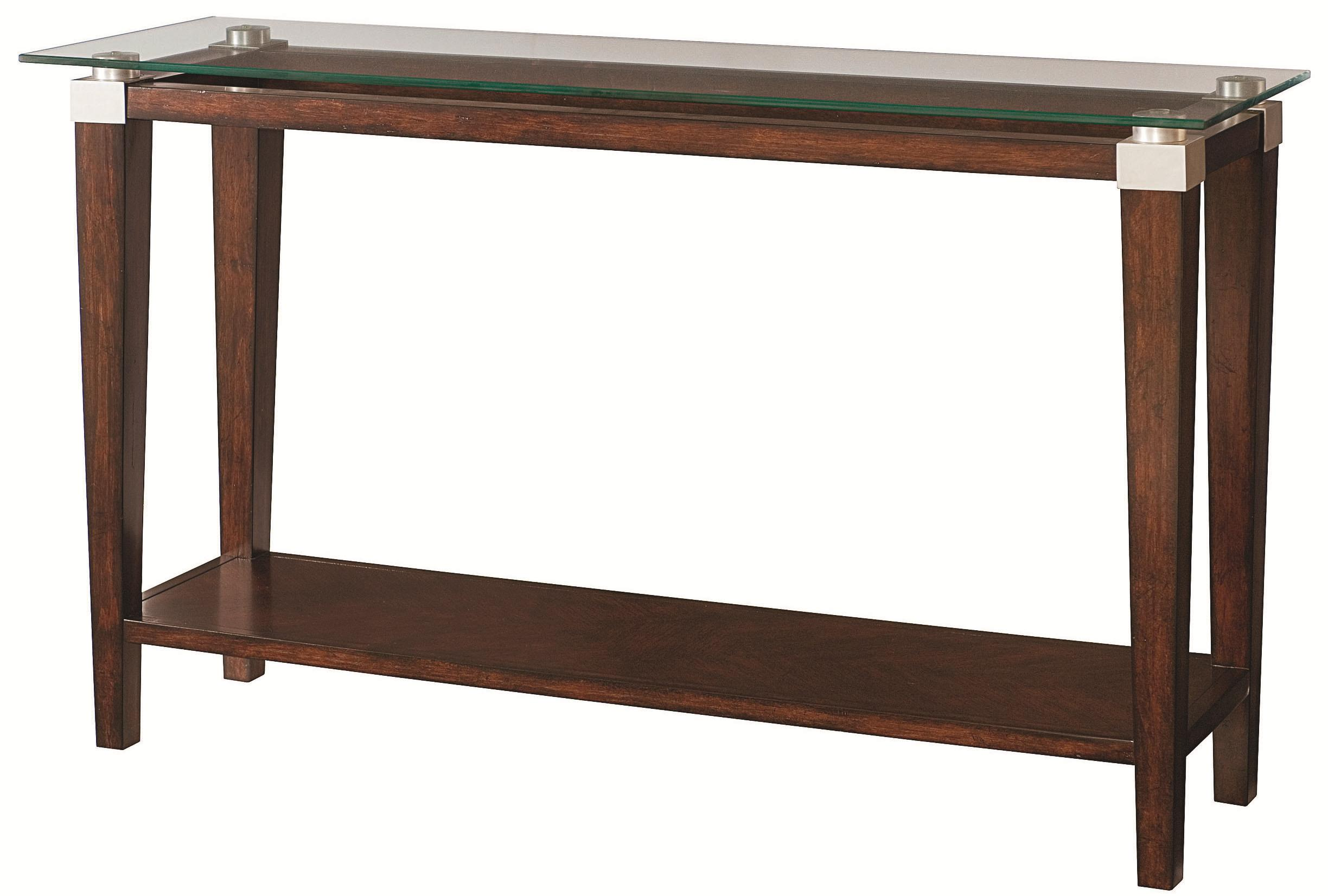 Contemporary Sofa Table With Glass Top By Hammary