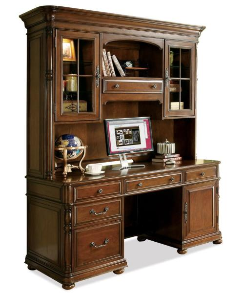 Large Office Computer Desk and Hutch by Riverside Furniture   Wolf     Large Office Computer Desk and Hutch