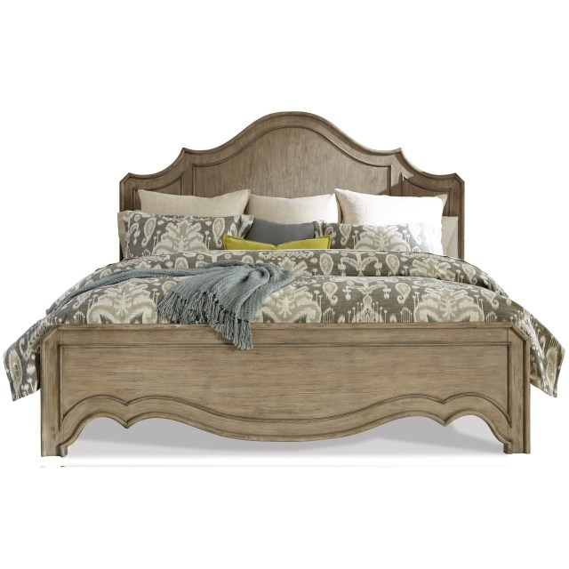 Queen Curved Panel Bed in Sun Drenched Acacia Finish by Riverside
