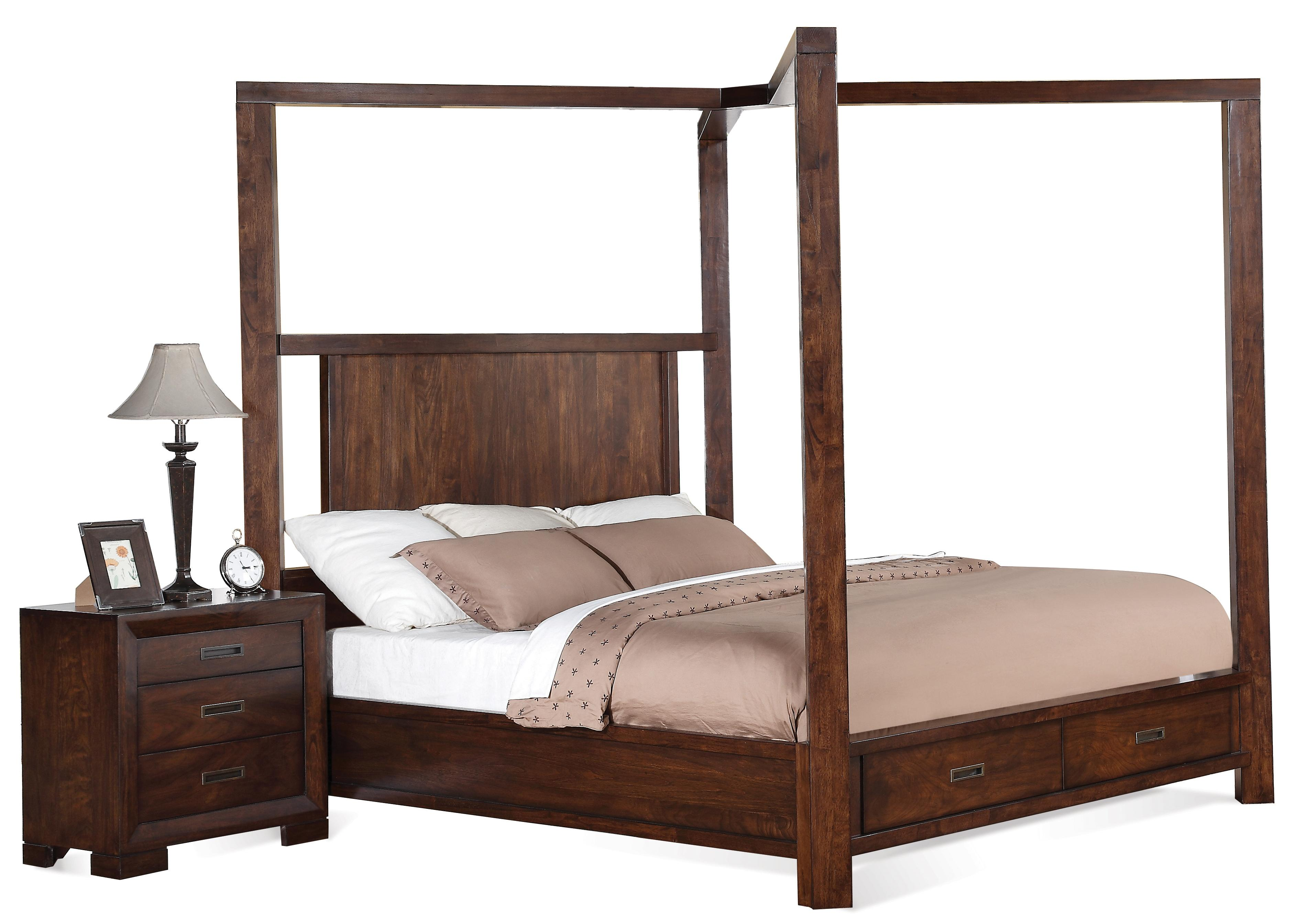 Cal King Canopy Storage Bed By Riverside Furniture