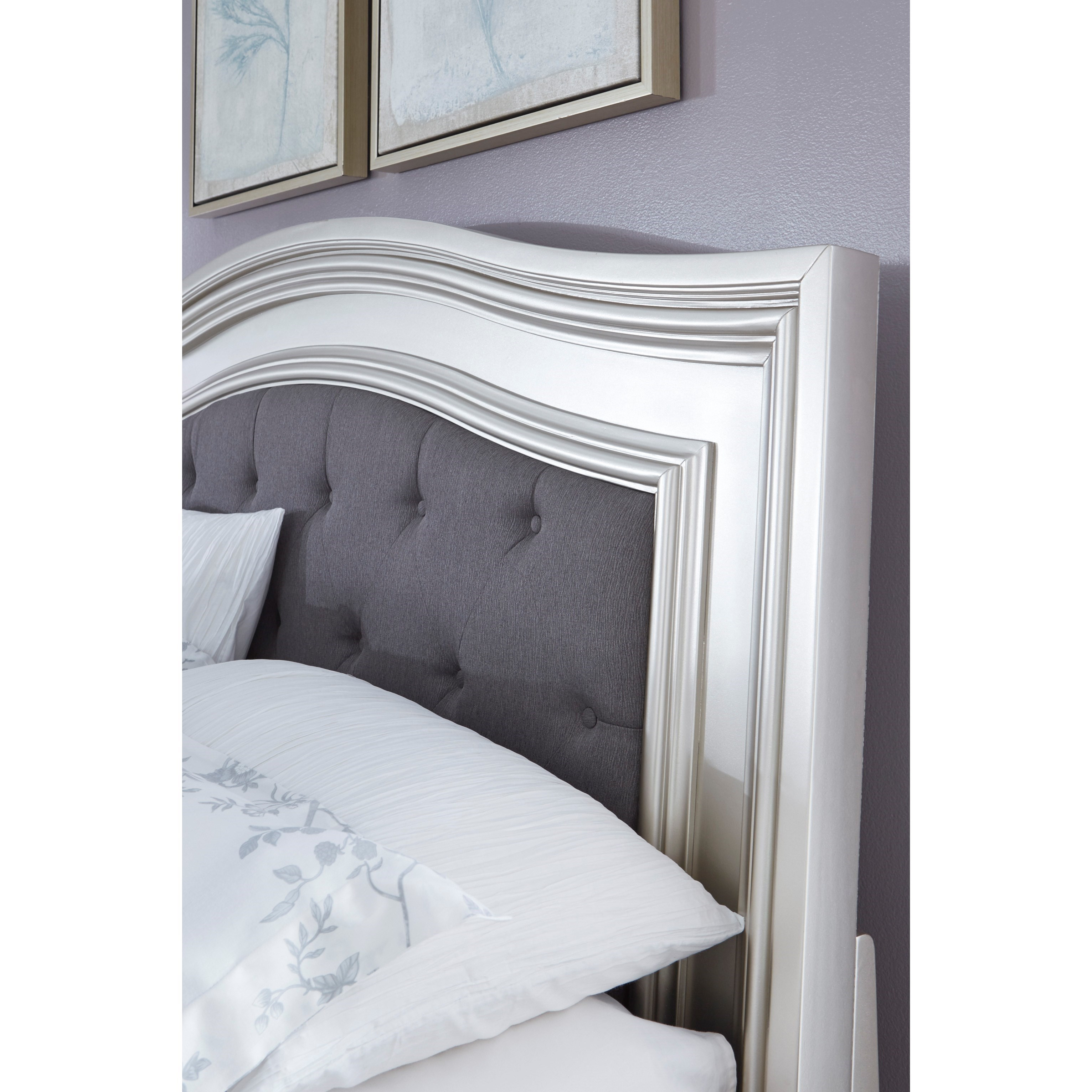 King Panel Bed With Arched Upholstered Headboard And