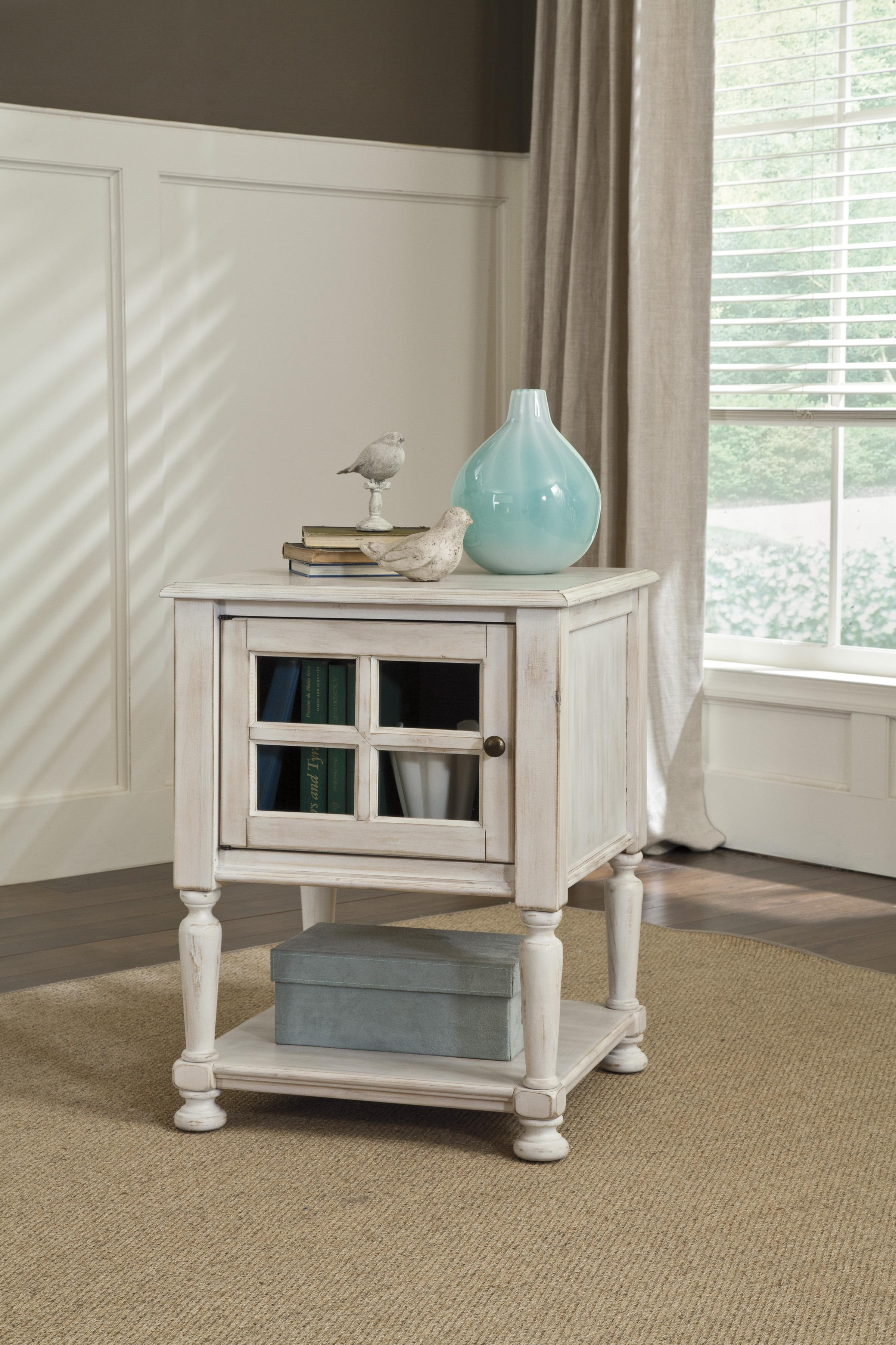Chair Side End Table With Window Pane Style Framed Glass