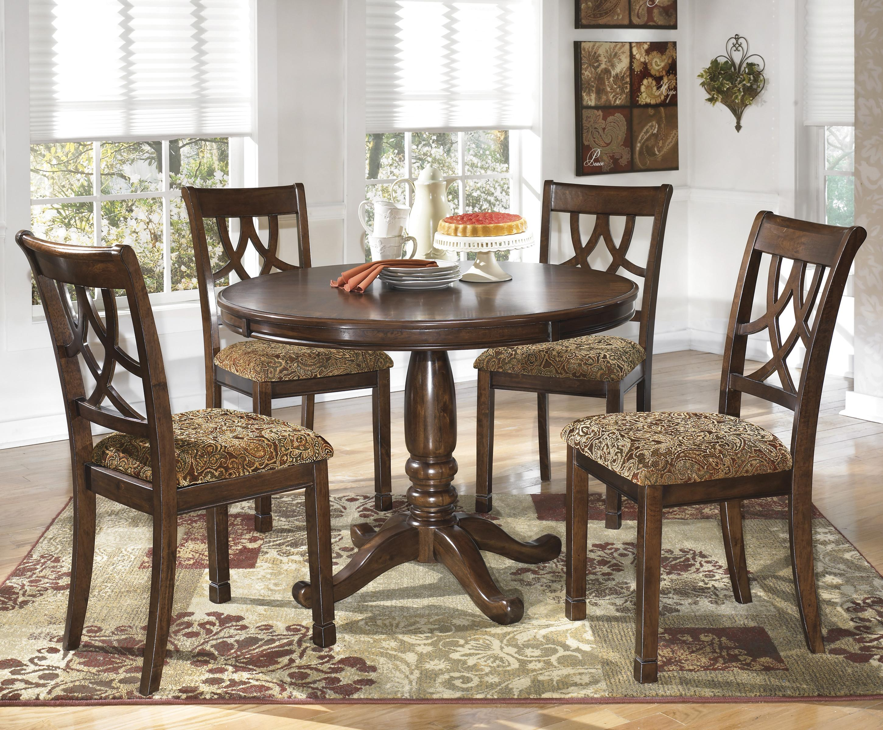 5 Piece Cherry Finish Round Dining Table Set By Signature Design By Ashley Wolf And Gardiner