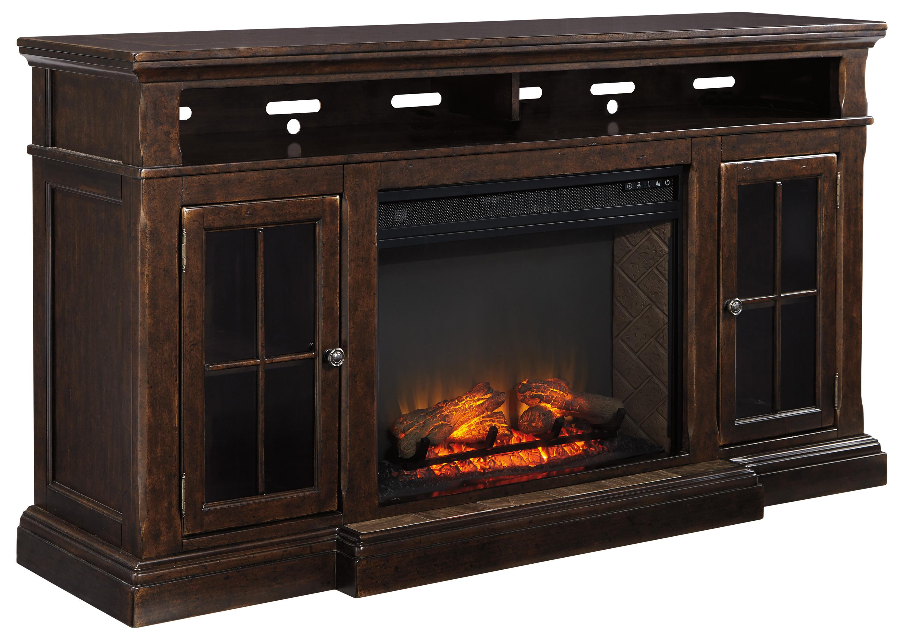 Transitional Extra Large TV Stand W Fireplace Insert By