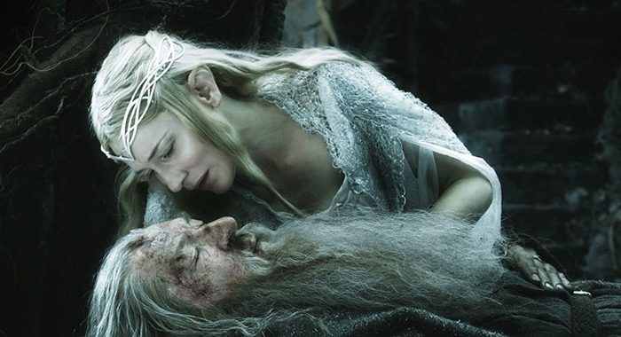 THE HOBBIT: THE BATTLE OF THE FIVE ARMIES, from top: Cate Blanchett, Ian McKellen as Gandalf, 2014. ©Warner Bros./courtesy Everett Collection