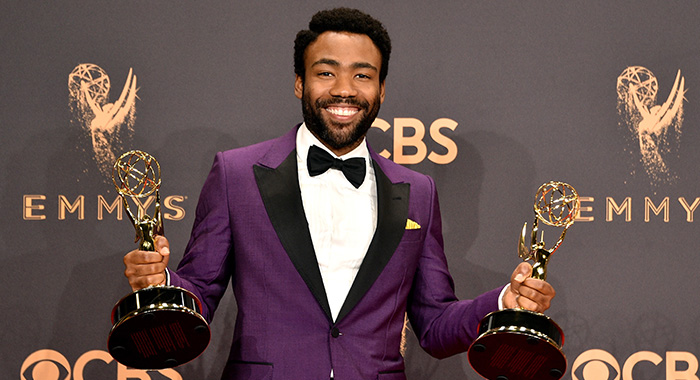 LOS ANGELES, CA - SEPTEMBER 17: Actor-producer Donald Glover, winner of the awards for Outstanding Lead Actor in a Comedy Series and Outstanding Directing for a Comedy Series for 'Atlanta,' poses in the press room during the 69th Annual Primetime Emmy Awards at Microsoft Theater on September 17, 2017 in Los Angeles, California. (Photo by David Crotty/Patrick McMullan via Getty Images)
