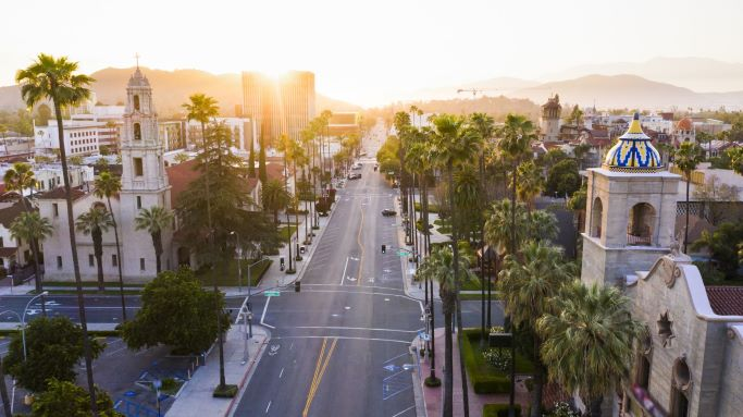 An aerial view of downtown Riverside CA