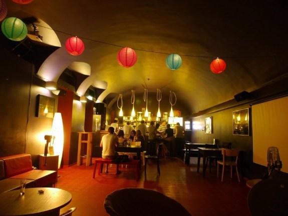 Wombat Hostel Bar in Budapest, styled the traveler's bar