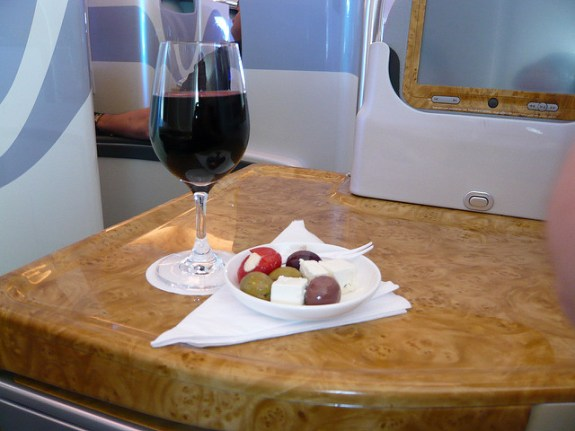 Business class apéritif on Emirates Airline