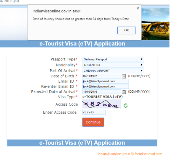 You can't apply for your online India visa or eTV more than 30 days out from your intended travel dates
