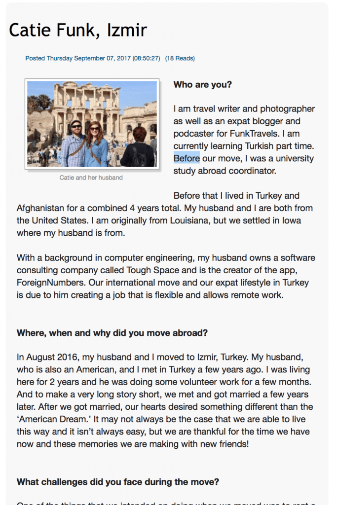 FunkTravels ExpatFocus Interview Turkey