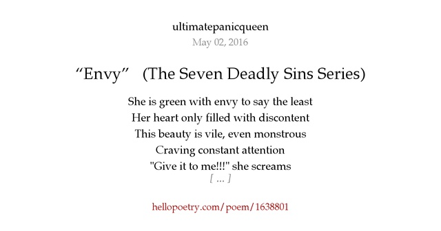 Envy The Seven Deadly Sins Series By Ultimatepanicqueen Hello Poetry