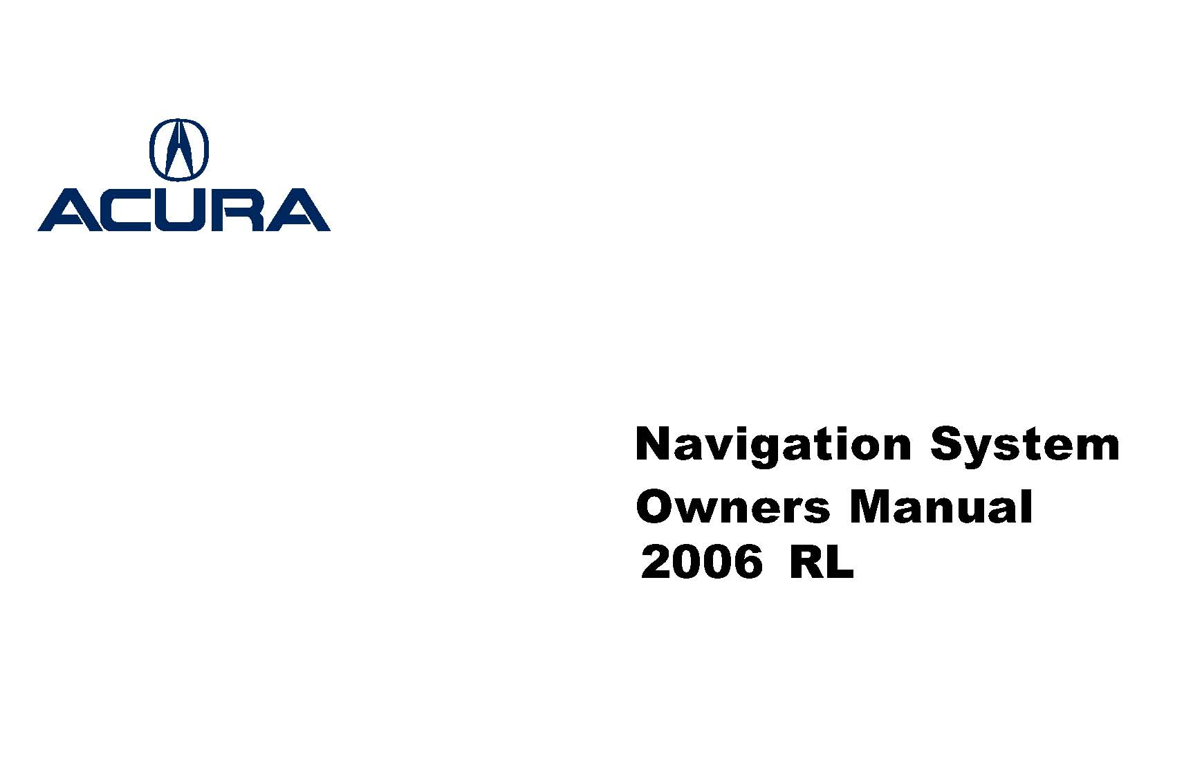 Acura Rl Owners Manual