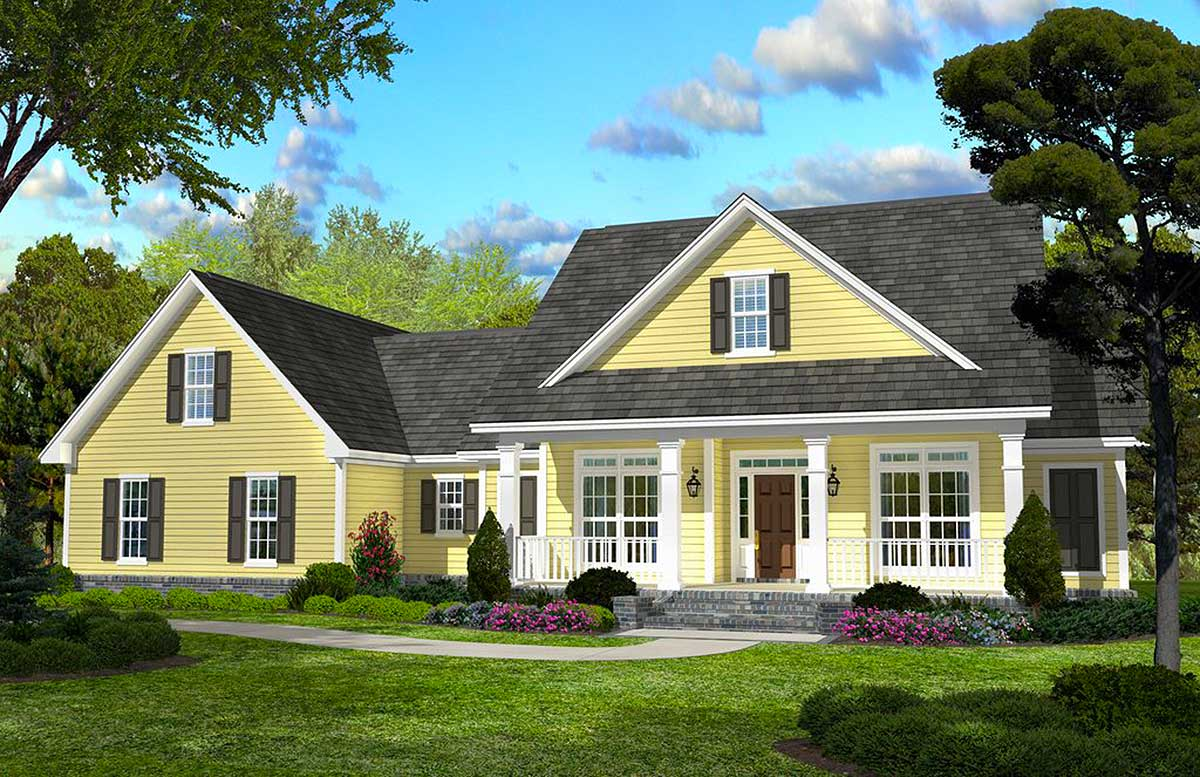 Classic Country Style Home Plan - 11745HZ