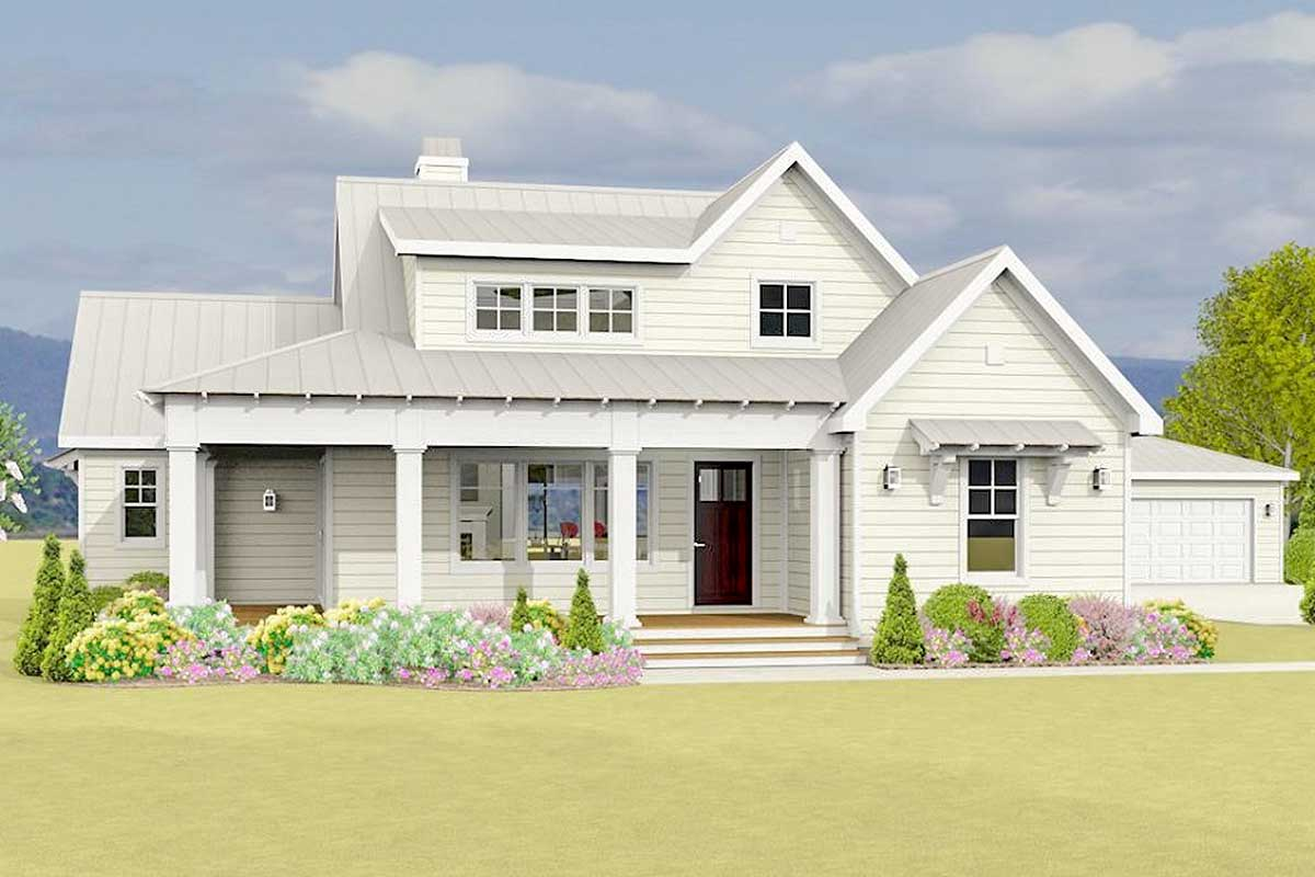 Country Farmhouse Plan With Detached Garage