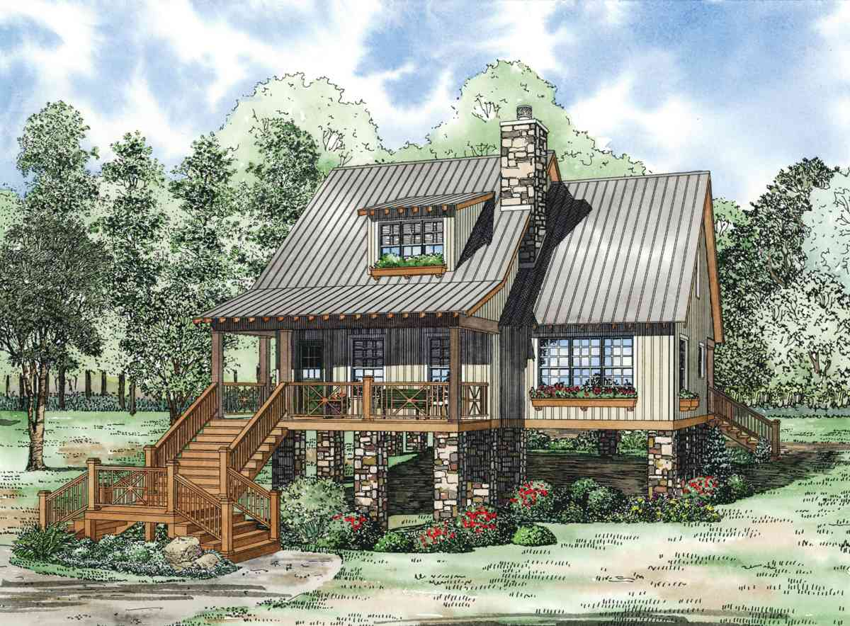 Elevated Cottage House Plan - 59968ND