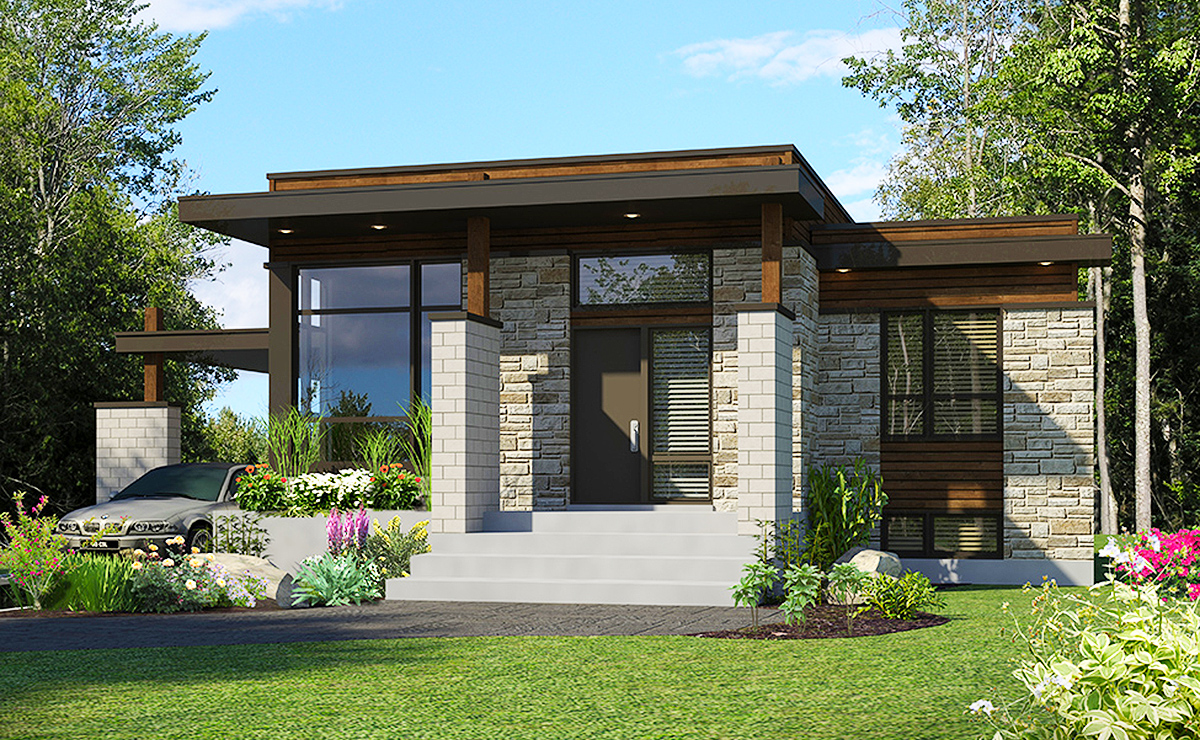 Compact Modern House Plan - 90262PD