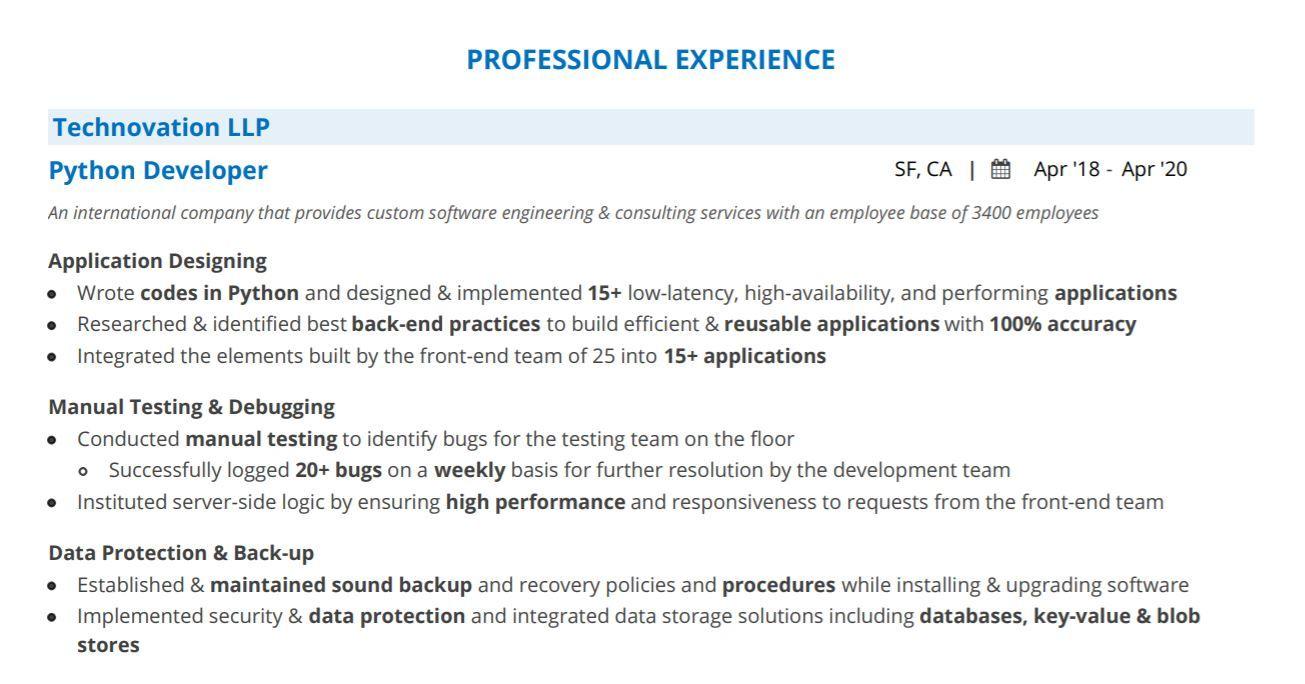 Python Developer Resume 2021 Guide With 20 Python Resume Examples