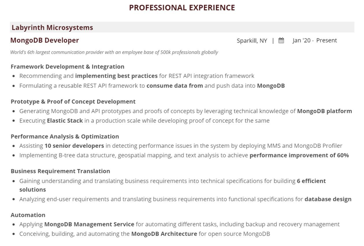 How To Perfect Your Mongodb Resume For 2021 In In 8 Easy Steps 10 Examples