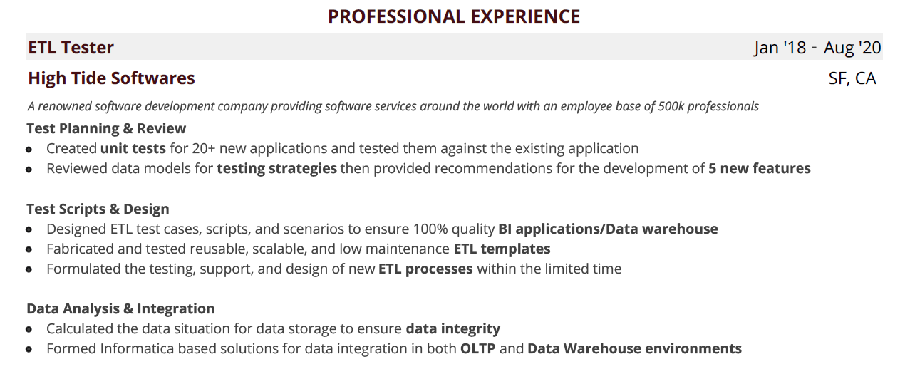 Etl Testing Resume Blog The Complete Guide With Examples Samples
