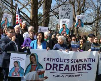 """Catholic advocates showed support for Dreamers during a """"Day of Action"""" on Capitol Hill on February 27, 2018."""