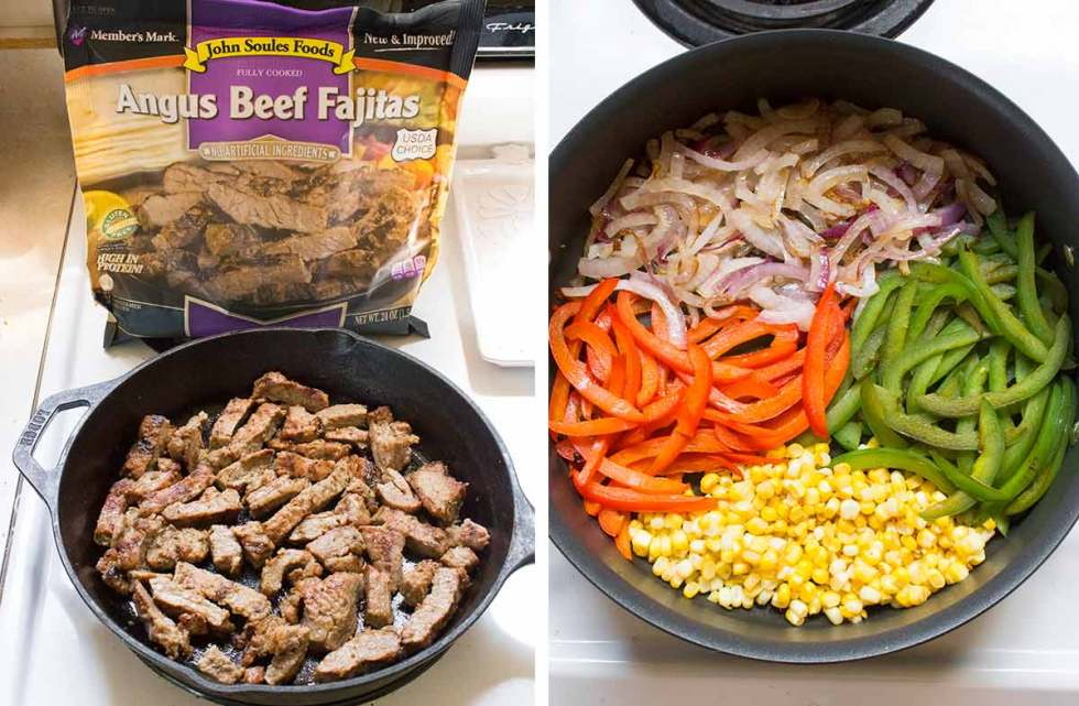 Angus beef and vegetables cooking on the stove for the Beef Fajita Salad. Recipe at SoupAddict.com