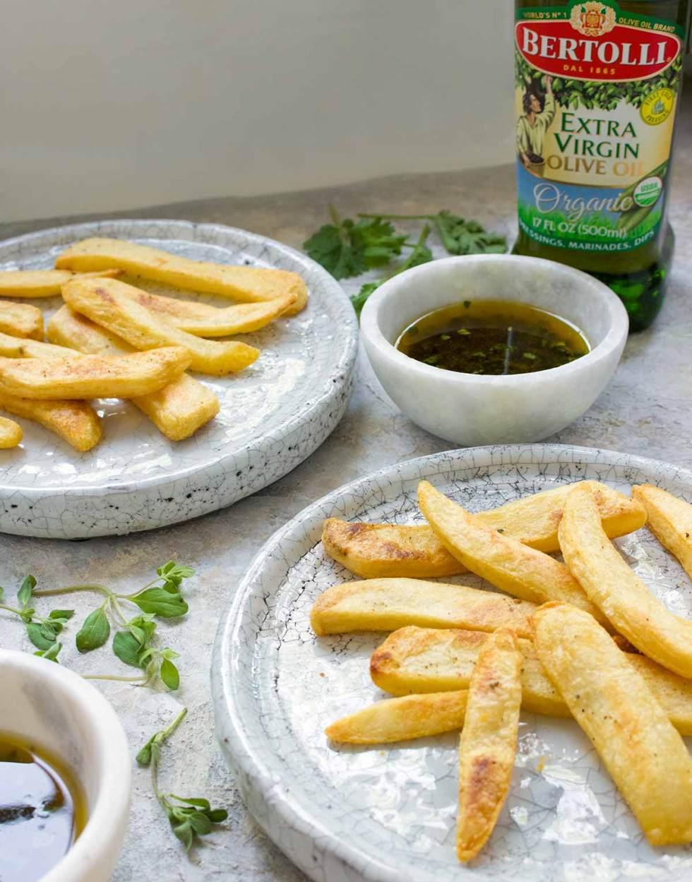 Chimichurri French Fries, with Bertolli Organic Olive Oil. Recipe at SoupAddict.com