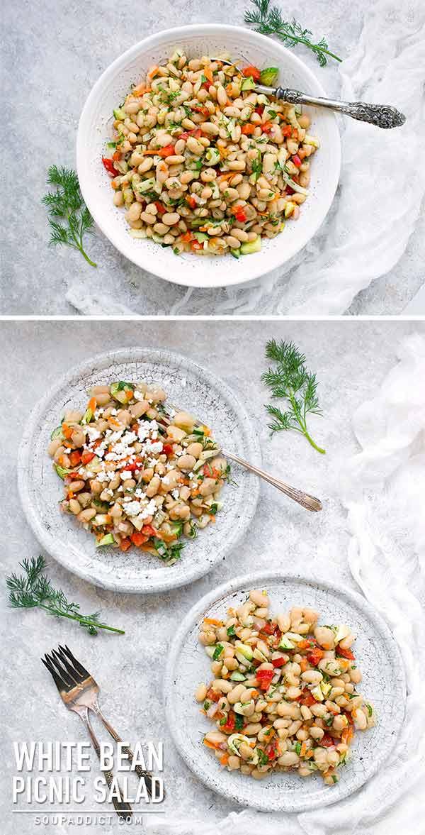 Herbed White Bean Picnic Salad with Lemon Dill Miso Dressing - Recipe at SoupAddict.com | #vegan #vegetarian #picnicfood #beansalad