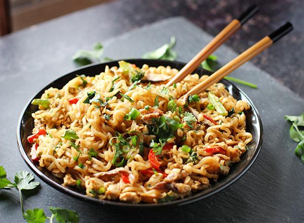 Ramen Noodle Stir Fry with Mushrooms from SoupAddict.com