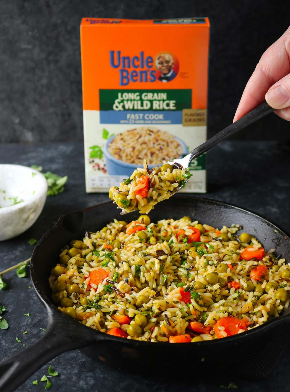 Long Grain Rice Medley with Peas, Carrots and Chimichurri Sauce from SoupAddict.com