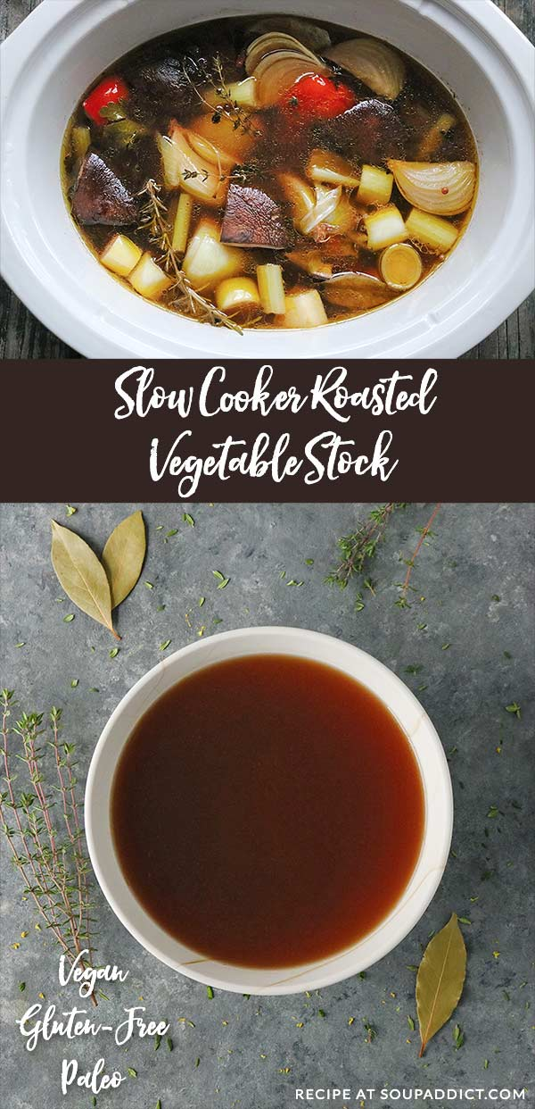 The Best Slow Cooker Roasted Vegetable Stock - roasting vegetables for soup stock creates a deeply flavored broth with minimal effort. Healthy, aromatic, and flavorful, this is the best homemade soup stock you'll ever make! Recipe at SoupAddict.com | soup broth | vegetarian soup stock | vegan soup stock | roasted vegetable stock | homemade soup broth | slow cooker soup broth