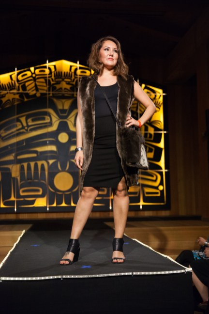 Models display the works of 18 Alaska Native designers at Celebration's first Native Fashion Show, sponsored by Sealaska Heritage Institute. Friday, June 10, 2016. (Photo by Annie Bartholomew/KTOO)
