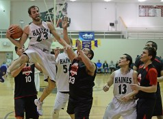 Haines' Kyle Bush (23) secures a rebound against Hoonah during the B-Bracket championship of the Juneau Lions Club 71st Annual Gold Medal Basketball Tournament at Juneau-Douglas High School on Saturday. Haines won 79-73. (Photo courtesy Klas Stolpe)