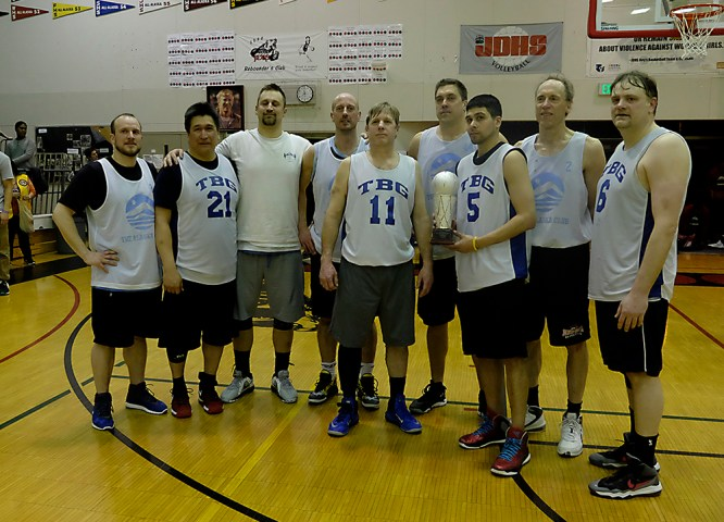 C-Bracket runners-up James Gang at the Juneau Lions Club 71st Annual Gold Medal Basketball Tournament at Juneau-Douglas High School on Saturday. (Photo courtesy Klas Stolpe)