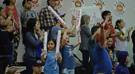 Fans make noise during the B-Bracket championship of the Juneau Lions Club 71st Annual Gold Medal Basketball Tournament at Juneau-Douglas High School on Saturday. (Photo courtesy Klas Stolpe)