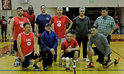 Masters Bracket runners-up Kake at the Juneau Lions Club 71st Annual Gold Medal Basketball Tournament at Juneau-Douglas High School on Saturday. (Photo courtesy Klas Stolpe)
