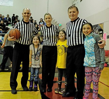 Referee Erik Jonson, Liliana Willard, Rae Ann Johnson, Michelle Meeks, Joe Thompson, and Addison Wilson. Gold Medal officials have been getting some appreciation during the tournament.