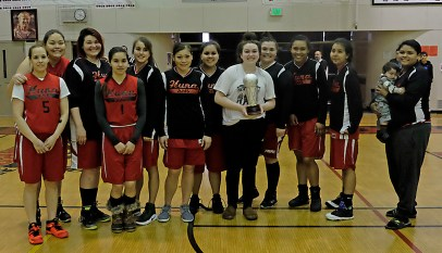 Women's Bracket runners-up Hoonah at the Juneau Lions Club 71st Annual Gold Medal Basketball Tournament at Juneau-Douglas High School on Saturday. (Photo courtesy Klas Stolpe)