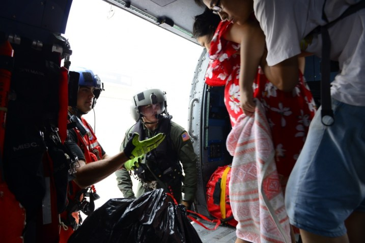 Coast Guard Air Station Houston responds to search-and-rescue requests after Hurricane Harvey in Houston, Texas, Aug. 27, 2017. The Coast Guard is working closely with all local and state emergency operation centers and has established incident command posts to manage Coast Guard storm operations. (USCG photo by Petty Officer 3rd Class Johanna Strickland)