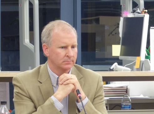 Brian Holst during the Tuesday, April 11, 2017 school board meeting at the Thunder Mountain High School Library.