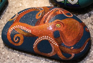 A rock painted like an octopus by Heather Stemmerman (Photo by David Purdy/KTOO)