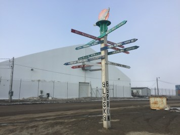 "Milepost by the Will Rogers and Wiley Post memorial. One of many visible ways that ""Barrow"" still has a presence in Utqiaġvik."