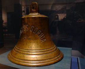 Ship's bell recovered from wreck of S.S. Princess Sophia.